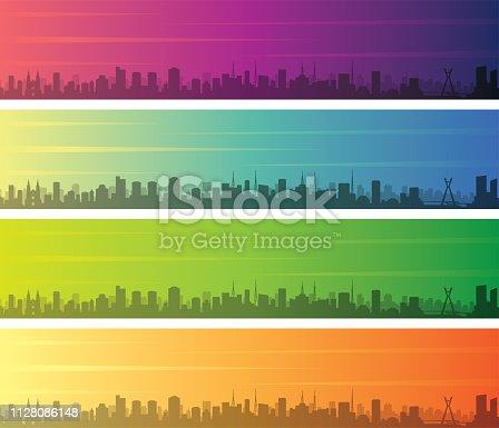 Sao Paulo Multiple Color Gradient Skyline Banner