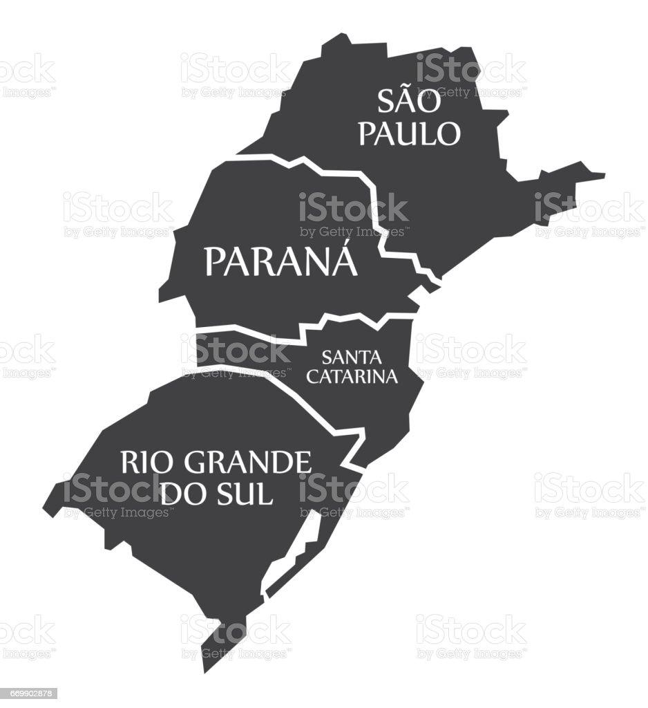 Sao Paulo - Parana - Santa Catarina - Rio Grande do sul Map Brazil illustration vector art illustration