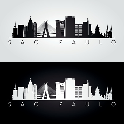 Sao Paulo skyline and landmarks silhouette, black and white design, vector illustration.