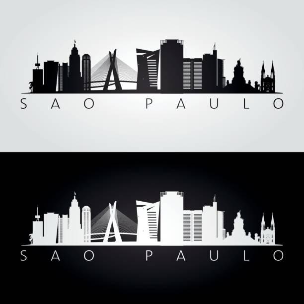 Sao Paulo skyline and landmarks silhouette, black and white design, vector illustration. Sao Paulo skyline and landmarks silhouette, black and white design, vector illustration. architecture silhouettes stock illustrations