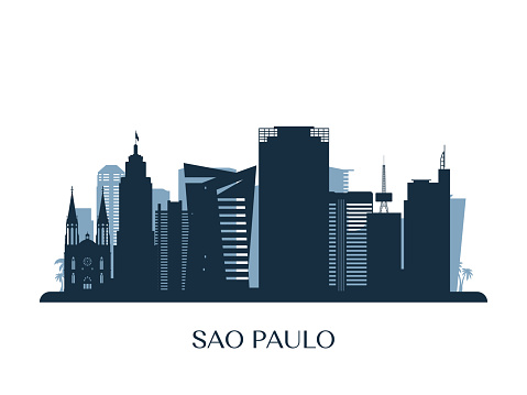 Sao Paulo skyline, monochrome silhouette. Vector illustration.