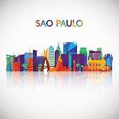 Sao Paulo skyline silhouette in colorful geometric style. Brazil symbol for your design. Vector illustration.
