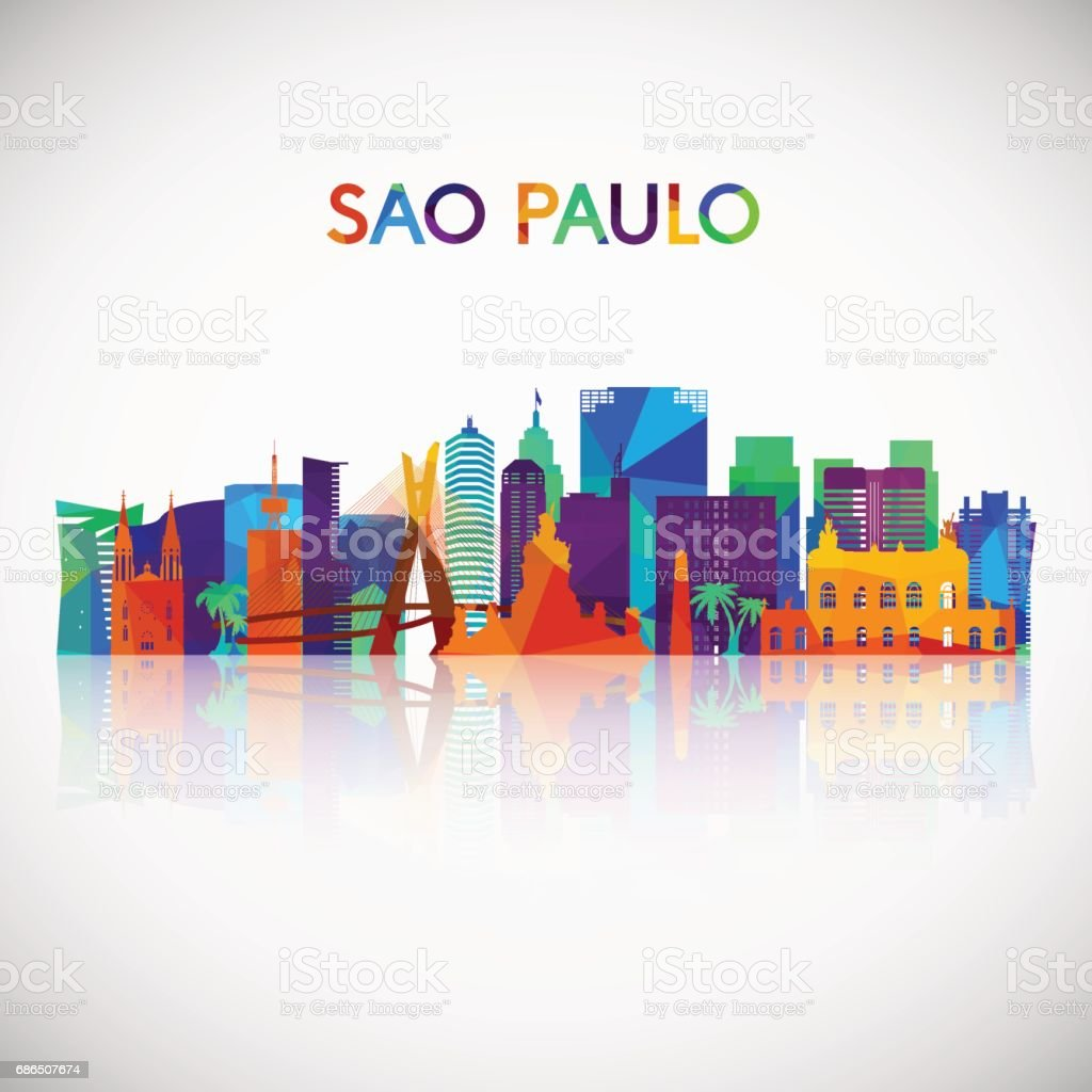 Sao Paulo skyline silhouette in colorful geometric style. Brazil symbol for your design. Vector illustration. vector art illustration