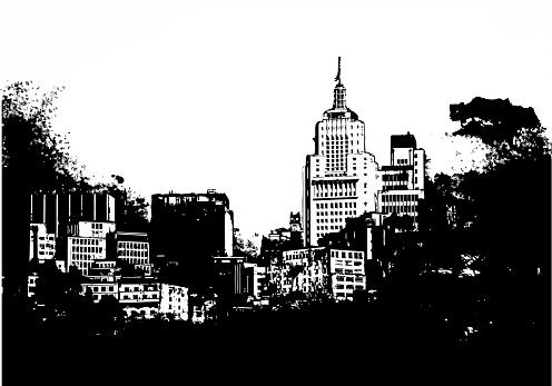 Sao Paulo skyline sketch illustration