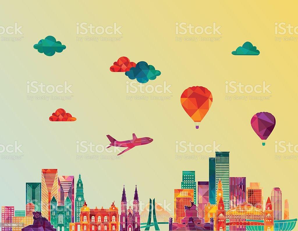 Sao Paulo skyline. Vector illustration vector art illustration