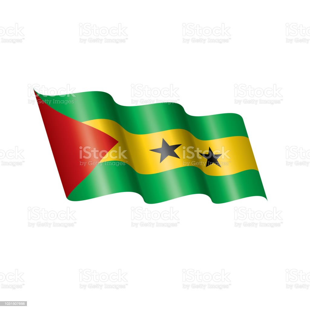Sao Tome and Principe flag, vector illustration on a white background vector art illustration