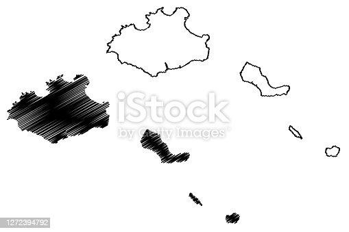 istock Sao Vicente municipality (Republic of Cabo Verde, concelhos, Cape Verde, island, archipelago) map vector illustration, scribble sketch Sao Vicente, Santa Luzia, Ilheu Raso and Branco map 1272394792