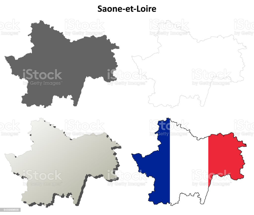 Map France 945.Saoneetloire Burgundy Outline Map Set Stock Vector Art More Images