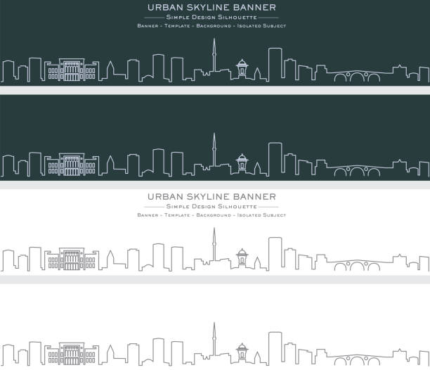 Sarajevo Single Line Skyline Banner Sarajevo Single Line Skyline Banner bosnia and hercegovina stock illustrations