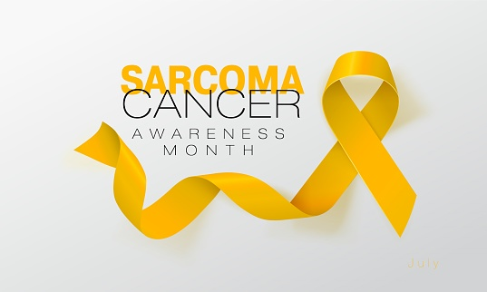 Sarcoma and Bone Cancer Awareness Calligraphy Poster Design. Realistic Yellow Ribbon. July is Cancer Awareness Month. Vector