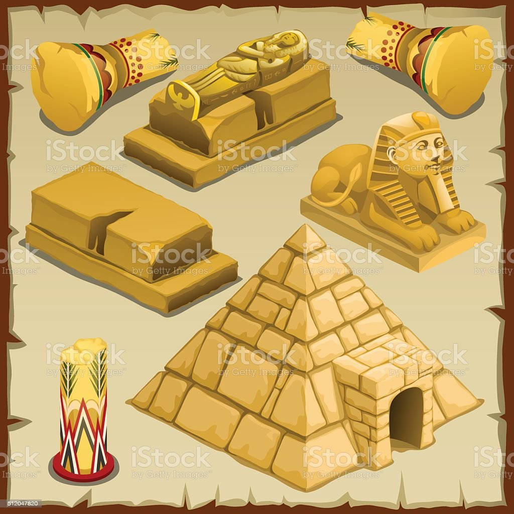 Sarcophagus and the pyramid, symbols of ancient vector art illustration