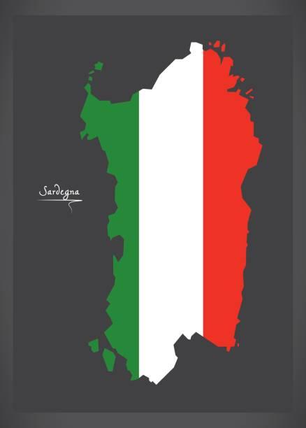 illustrazioni stock, clip art, cartoni animati e icone di tendenza di sardegna map with italian national flag illustration - sardegna