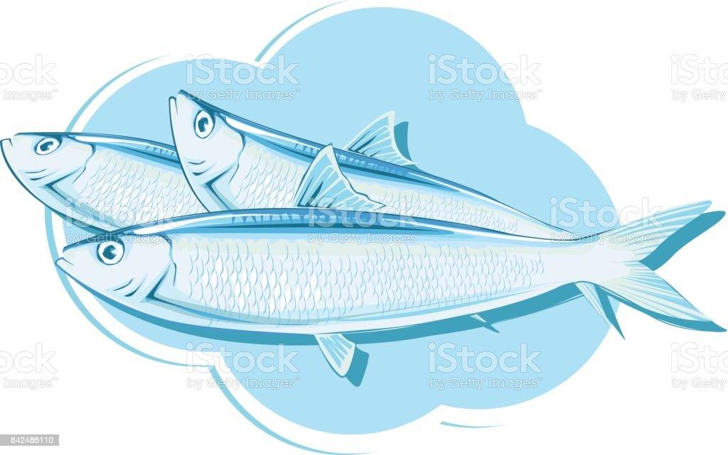 Sardinas azul sombra - ilustración de arte vectorial
