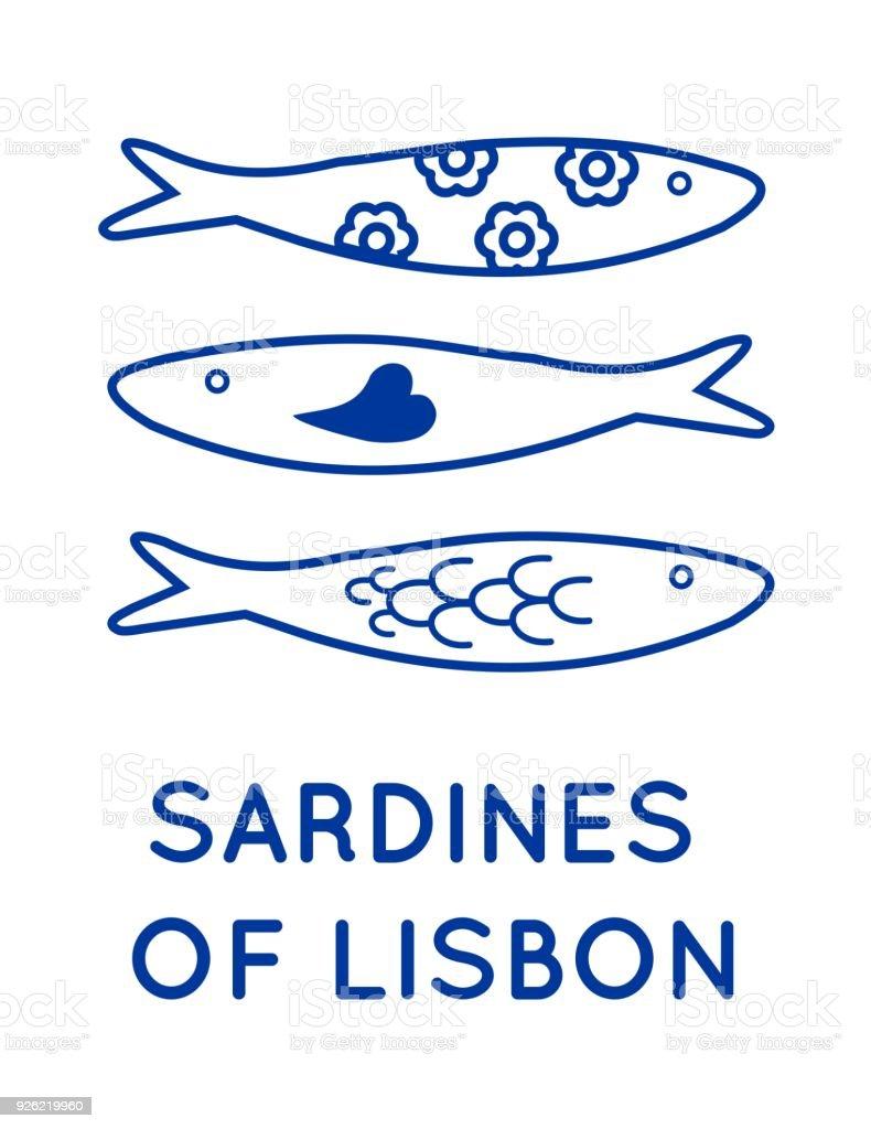 Sardinas de vector de Lisboa Portugal - ilustración de arte vectorial