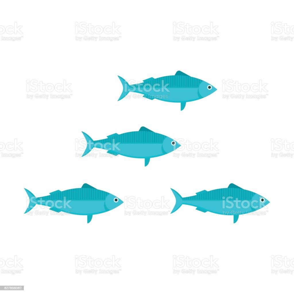 Ilustración de Vector de escuela de sardinas - ilustración de arte vectorial
