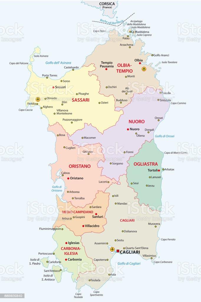 sardinia administrative and political map vector art illustration