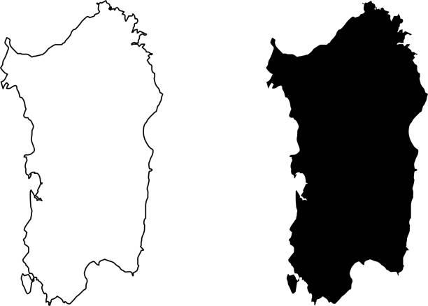 illustrazioni stock, clip art, cartoni animati e icone di tendenza di vettore mappa dell'isola di sardegna - sardegna
