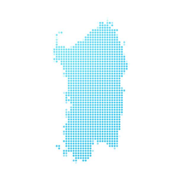 illustrazioni stock, clip art, cartoni animati e icone di tendenza di mappa sardegna in punti blu su sfondo bianco - sardegna