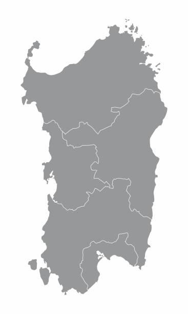illustrazioni stock, clip art, cartoni animati e icone di tendenza di mappa della regione sardegna - sardegna