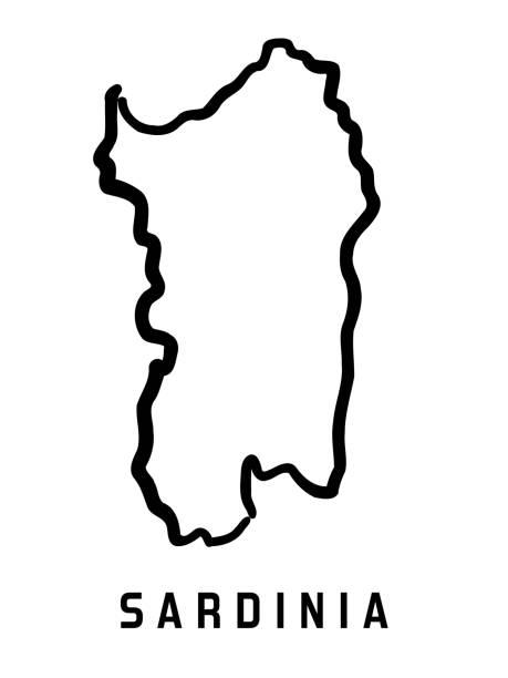 illustrazioni stock, clip art, cartoni animati e icone di tendenza di sardinia simple map - sardegna