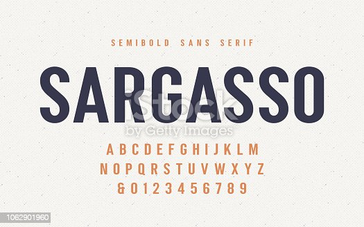 Sargasso semibold san serif vector font, alphabet, typeface, uppercase letters and numbers. Global swatches.