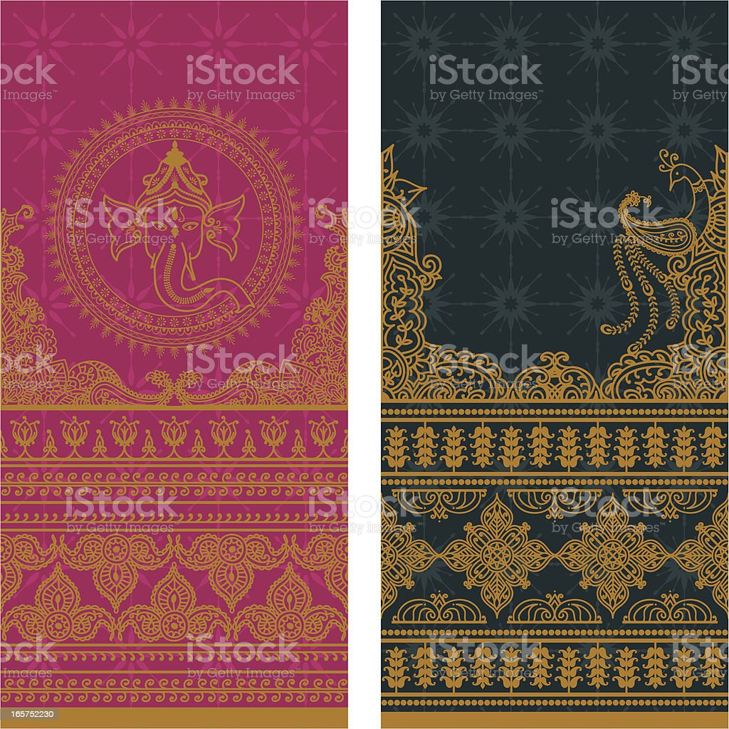 Sari Borders Tall - Gold vector art illustration