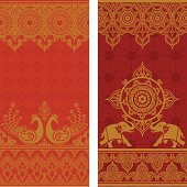 A pair of extra tall seamless sari border designs with intricate gold details, featuring a pair of ornate peacocks and a pair of decorated elephants. (Includes .jpg)