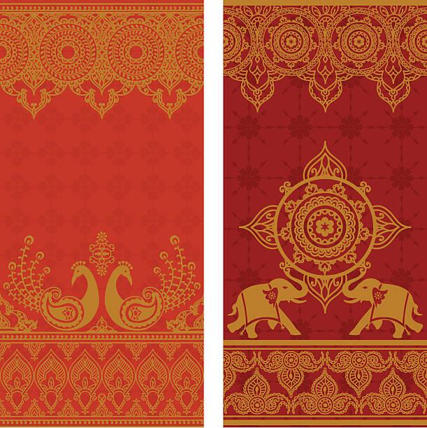 stockillustraties, clipart, cartoons en iconen met sari borders - indiase cultuur