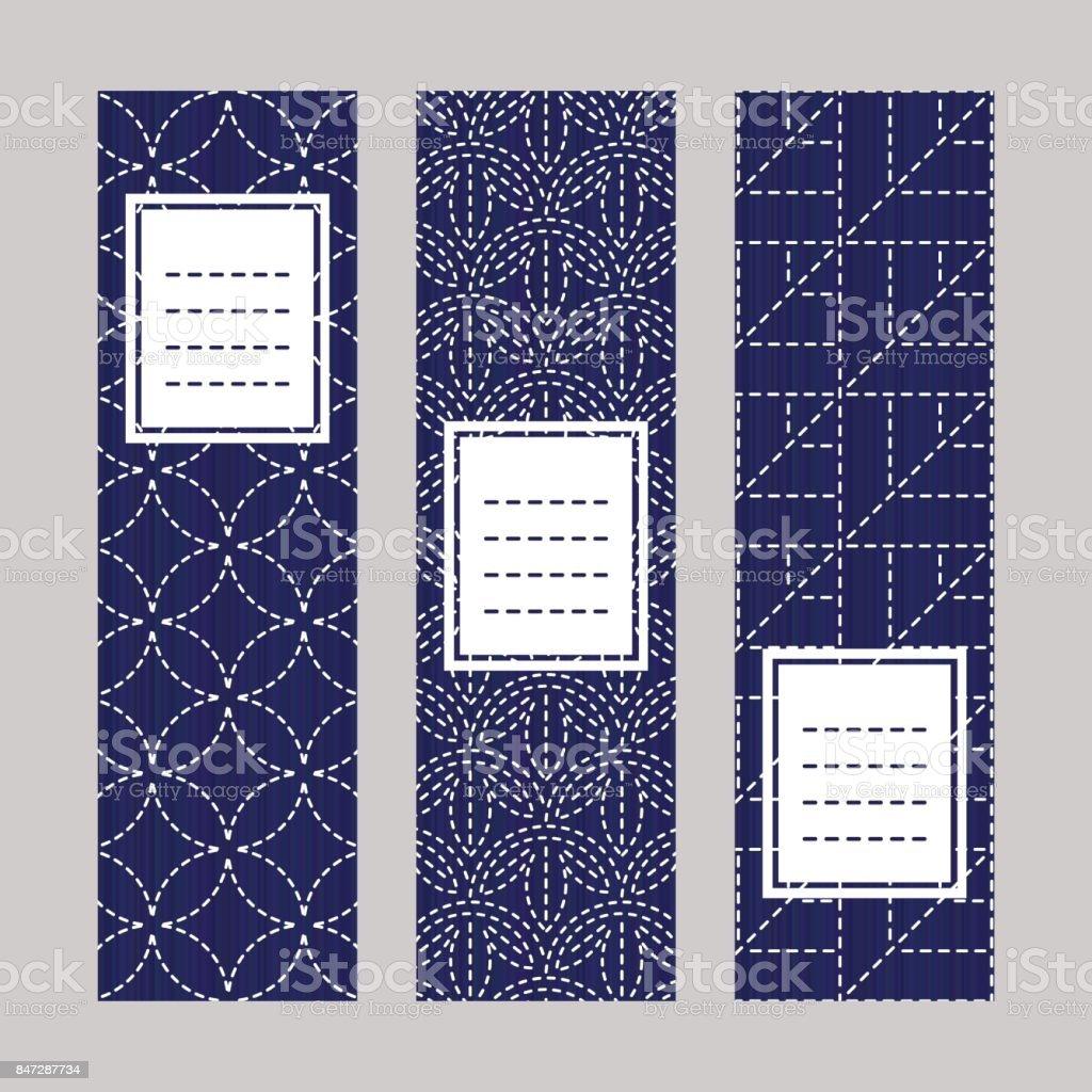 Sashiko banner set. Japanese embroidery ornaments. vector art illustration