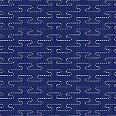Sashiko motif. Stylised mist. Seamless pattern.