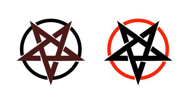 ilustrações de stock, clip art, desenhos animados e ícones de satan star, pentagram symbol of satanism, mystical sign round form - vector emblem of spiritual cult. - seitas