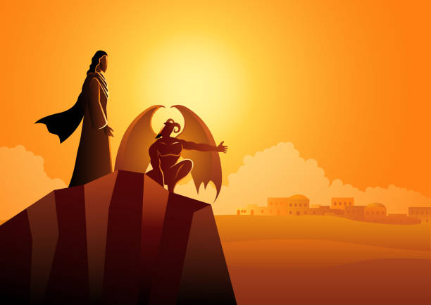 Satan tempts Jesus in the wilderness vector art illustration