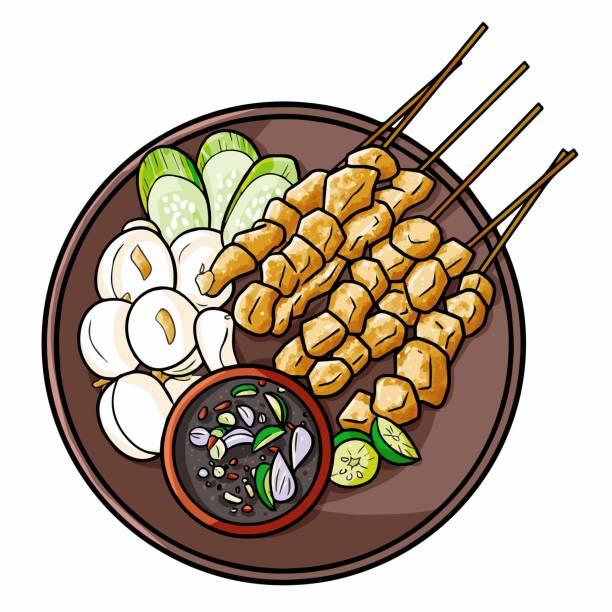 """stockillustraties, clipart, cartoons en iconen met """"sate klathak"""", een traditionele kip saté van yogyakarta - indonesische cultuur"""
