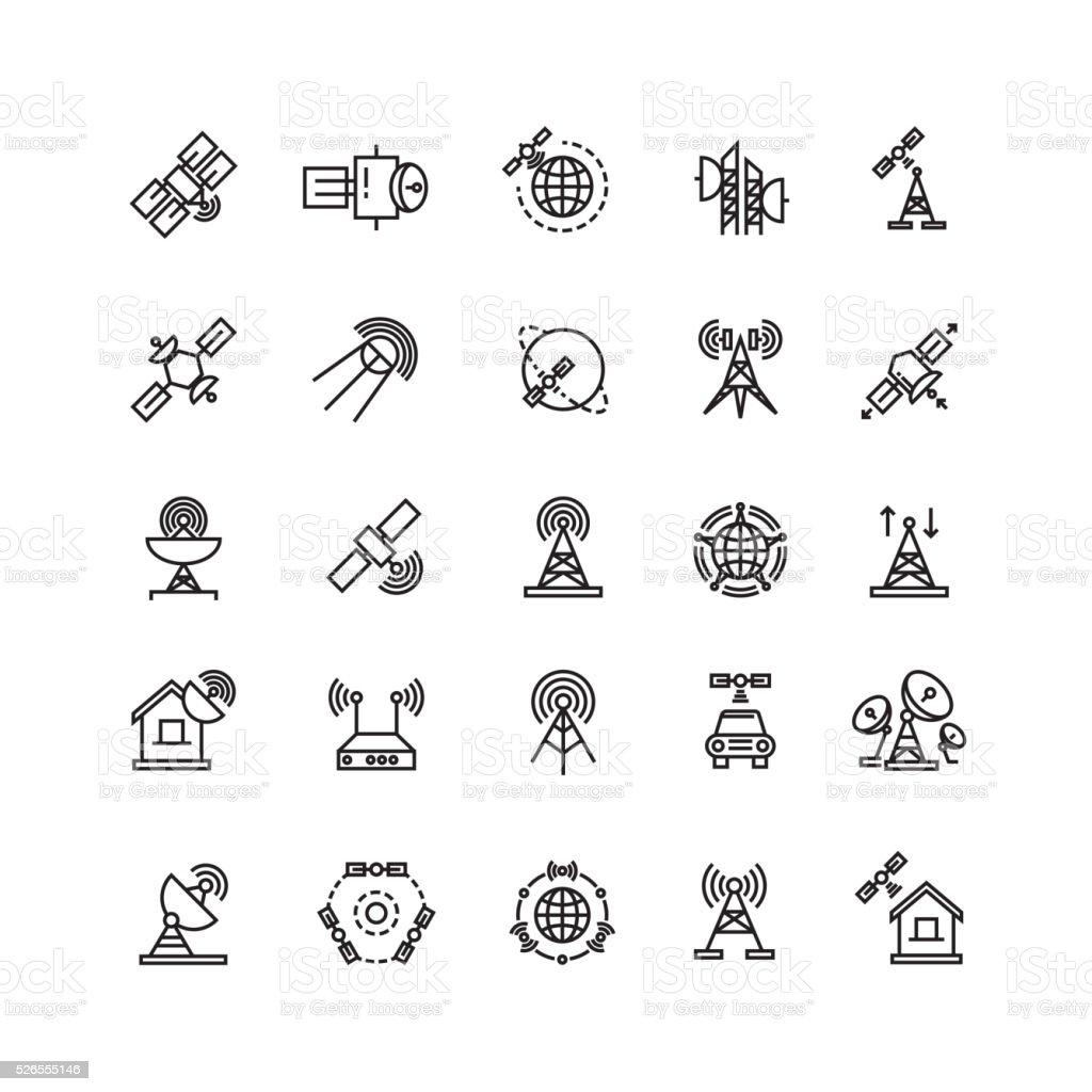 Satellite and orbit communication, aerial line thin icons vector art illustration