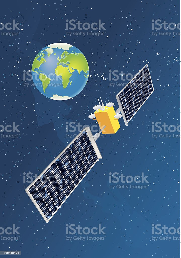 Satellite cartoon picture above earth vector art illustration