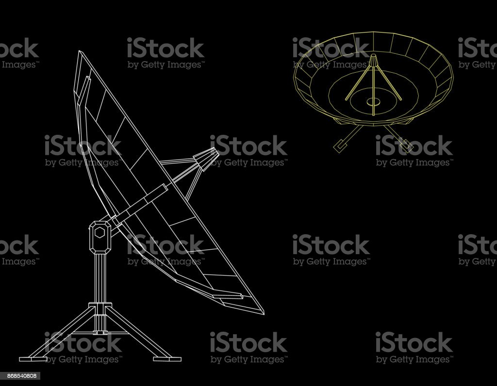 Satellite dish antenna. Isolated on black background. Vector outline illustration. vector art illustration