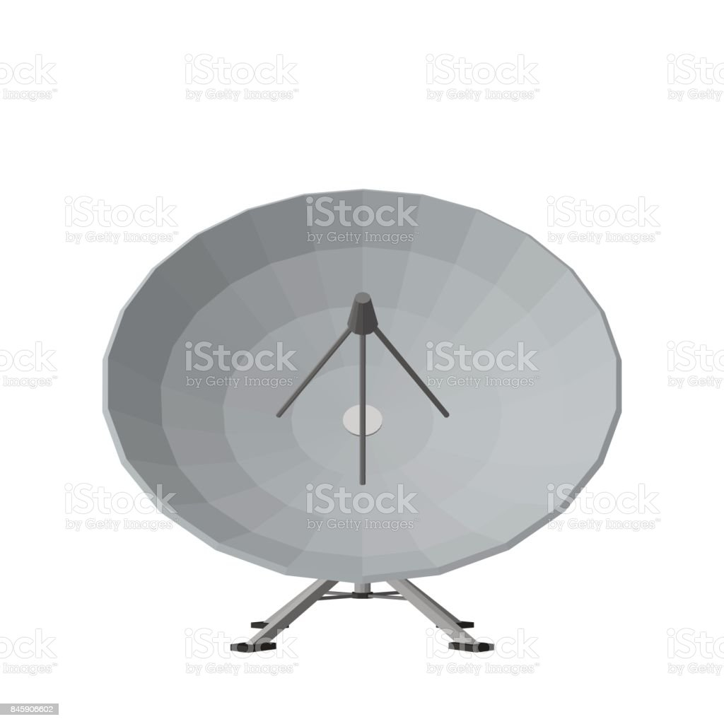 Satellite dish antenna. Isolated on white background. 3D Vector illustration. vector art illustration