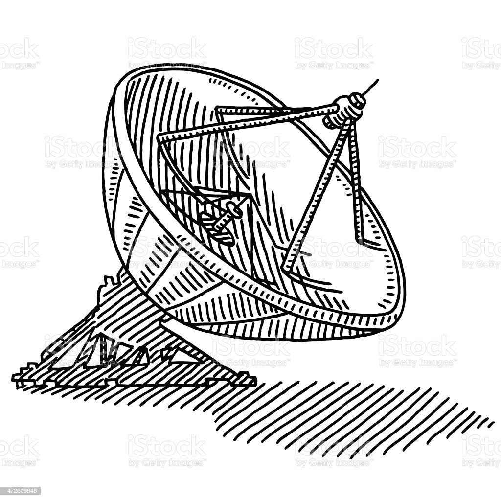 Satellite Dish For Telecommunication Drawing royalty-free satellite dish for telecommunication drawing stock illustration - download image now