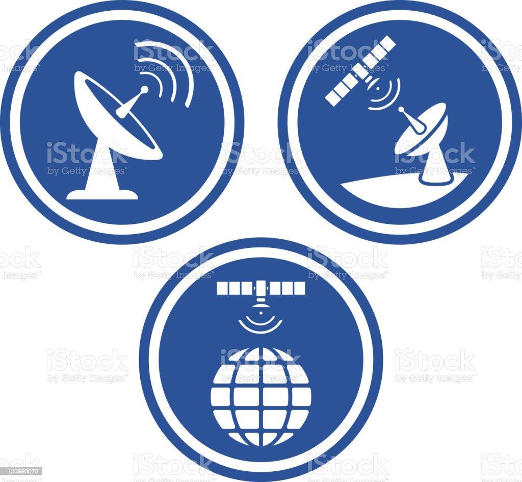 Satellite dish radars - Vector vector art illustration