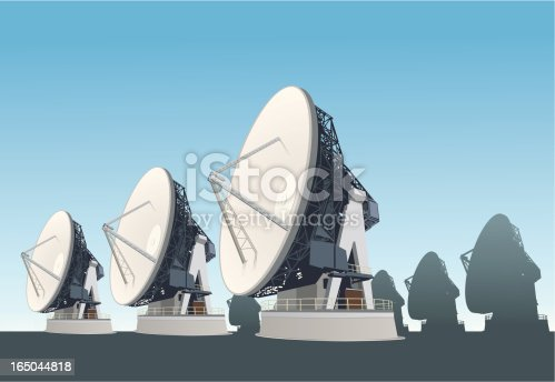 satellite dish, transmitter and reciever.