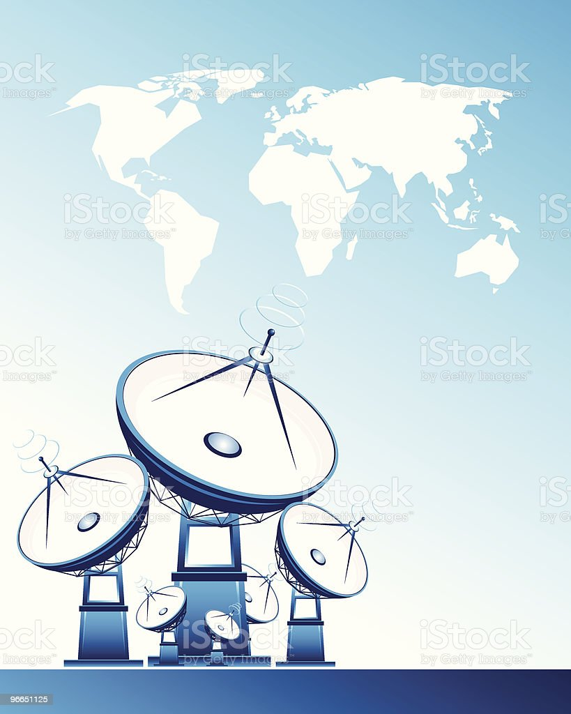 Satellite dishes and world map vector art illustration