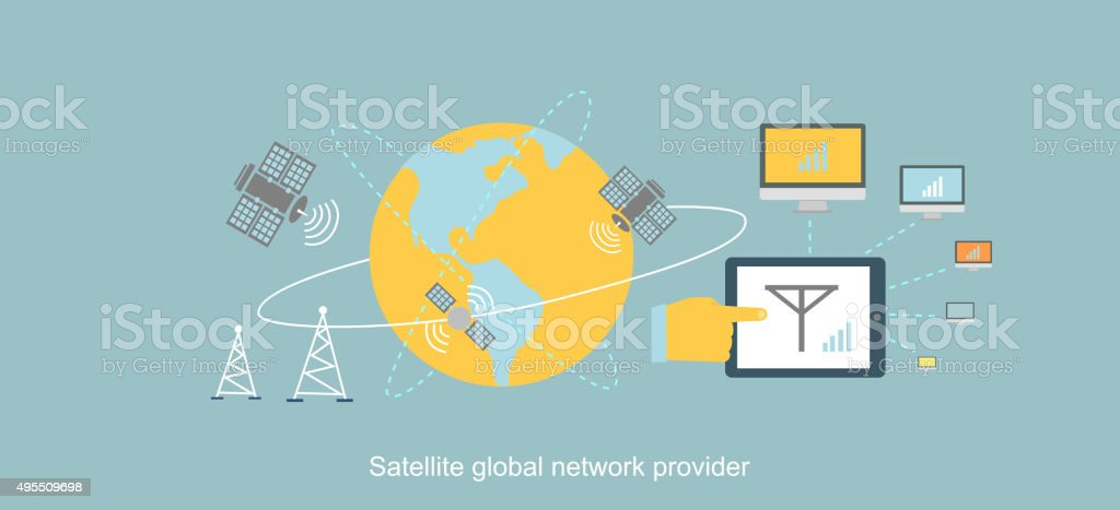 Satellite Global Network Provider Icon Flat