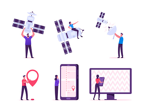 Satellite Global Wireless Connection for Gps, Mobile and Tv Services Concept. People Use Digital Cable, Remote Television Control, Smartphone Map. Users and Technics Cartoon Flat Vector Illustration
