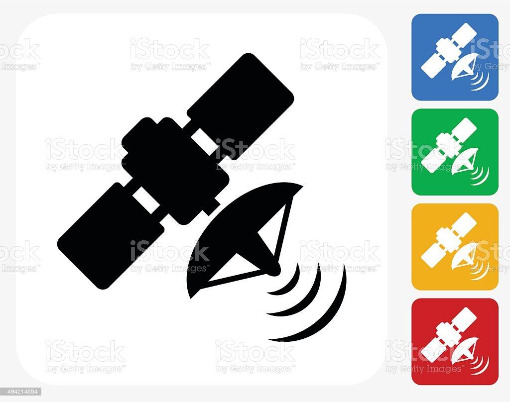 Satellite Icon Flat Graphic Design vector art illustration