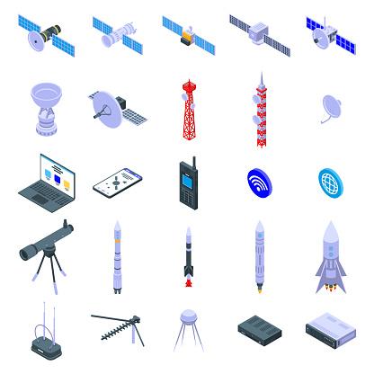 Satellite icons set. Isometric set of satellite vector icons for web design isolated on white background