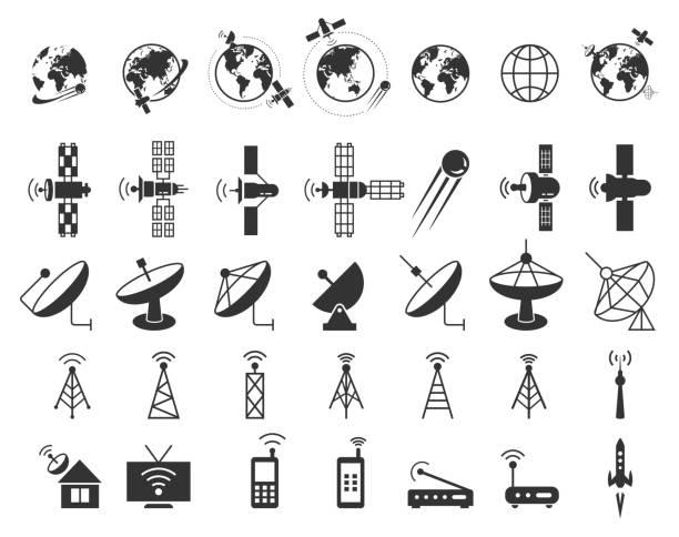 illustrations, cliparts, dessins animés et icônes de icônes vectorielles par par satellite - vaisselle picto