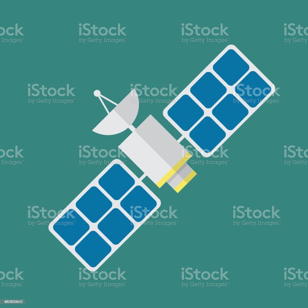 Satellite in flat style vector art illustration