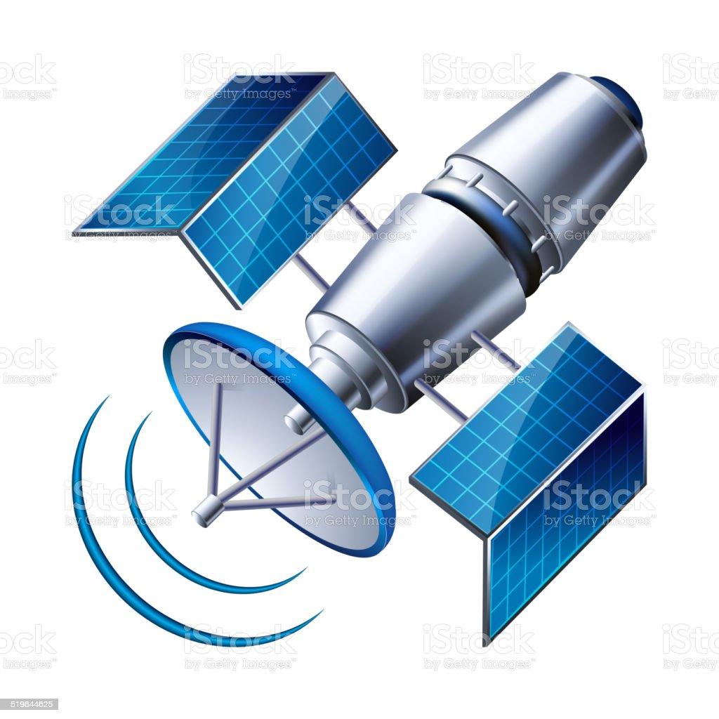 satellite isolated on white background vector art illustration