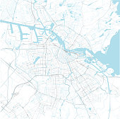Satellite map of Amsterdam and surrounding areas, Netherlands. Map roads, ring roads and highways, rivers, railway lines. Vector file