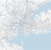 Satellite map of New York City and surrounding areas, Usa. Map roads, ring roads and highways, rivers, railway lines. Transportation map